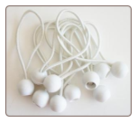 "100PC BALL BUNGEES  9"" ECONOMY  WHITE BUNGEE  FREE SHIPPING"